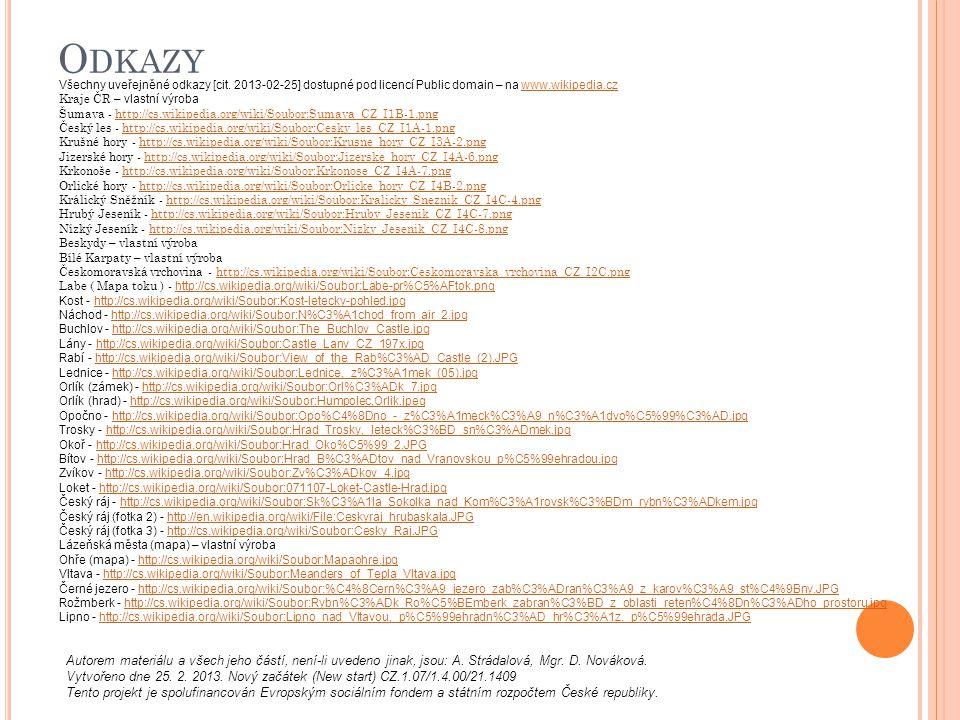 Odkazy Všechny uveřejněné odkazy [cit. 2013-02-25] dostupné pod licencí Public domain – na www.wikipedia.cz.